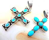 6 oval shape turquoise stone forming cross  sterling silver pendant