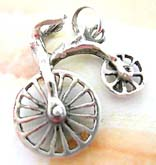 Cut-out wheel movable bicycle design sterling silver pendant