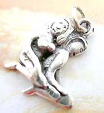 Naked knee-down couple design sterling silver pendant