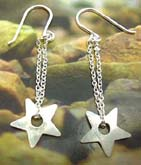 Fish hook back sterling silver earring with double chains holding a mini star pattern at the end