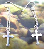 Solid 925. sterling silver earring with double chains holding a mini cross pattern at the end