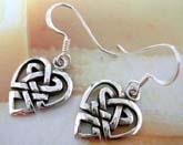 Heart shape celtic knot made of 925. sterling silver French hook style earring