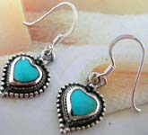 Heart shape sterling silver French hook style earring with turquoise and mini silver ball inlaid