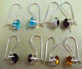 Clip hook closed 925. sterling silver earring with a large rounded cz stone embedded on, assorted colorrandomly pick