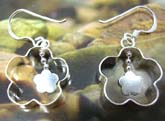 Sterling silver earring in handcrafted flower frame  with a mini flower pattern suspended in middle