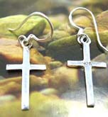 Cross earring in solid 925. sterling silver setting with fish hook for convenience closure