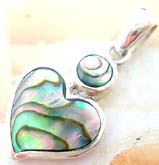 Heart shape abalone seahell inaly sterling silver pendant with a rounded mini abalone seashell on top