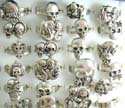 Fashion skull adjustable ring for all sizes in assorted pattern design
